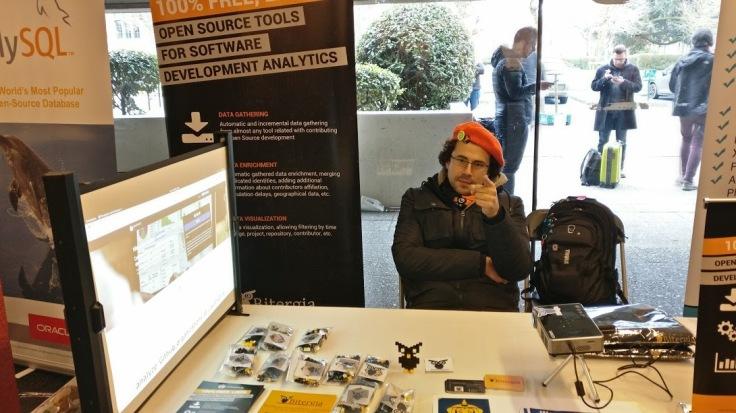 Luis in Bitergia stand in FOSDEM